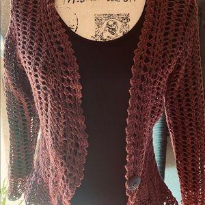 Wine color long sleeve crochet sweater